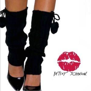 NWT Betsey Johnson black cableknit Pompom leg warmers